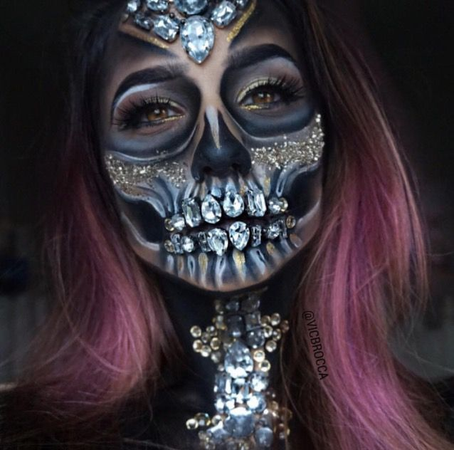 vic brocca diamond skull makeup halloween costumes pinterest skull makeup makeup and diamond. Black Bedroom Furniture Sets. Home Design Ideas