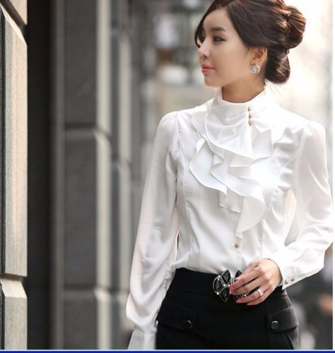 New Fashion Lady OL Chiffon Blouse T Shirt Long Sleeve Women Shirt Tops White | eBay