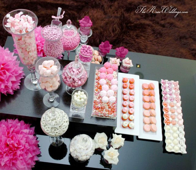 ombre pink dessert table bridalwedding shower party ideas