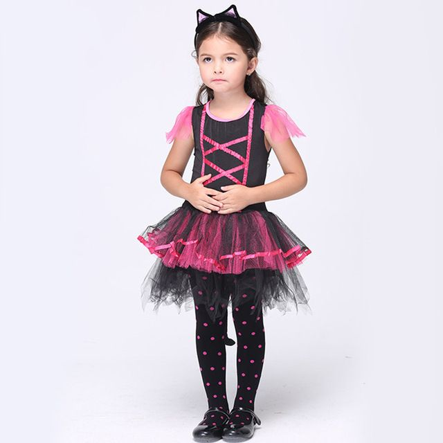 Оптовая продажа хэллоуин костюмы для выступлений платья кошка девочек костюм…