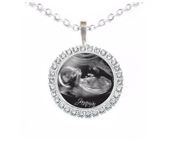 Crystal Rhinestone Silver Sonogram Necklace, Pregnancy Gift, birth announcement, Gift for New Mother, Ultrasound Necklace