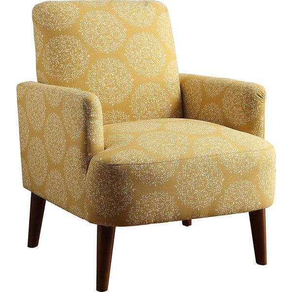 Serendipity Yellow Dandelion Jelera Accent Chair ($200) ❤ liked on Polyvore featuring home, furniture, chairs, accent chairs, yellow accent chair, plush chair, yellow furniture and yellow chair