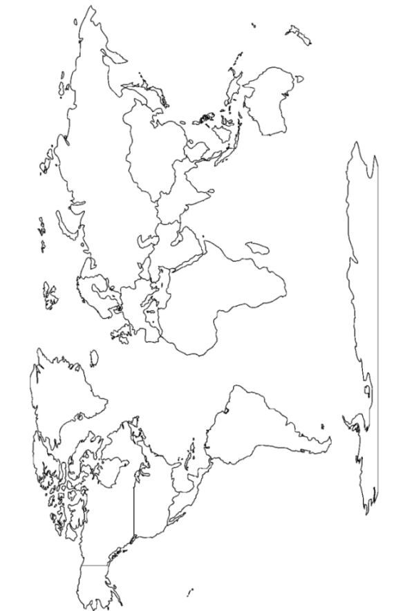 World Continents Blank Map Printout