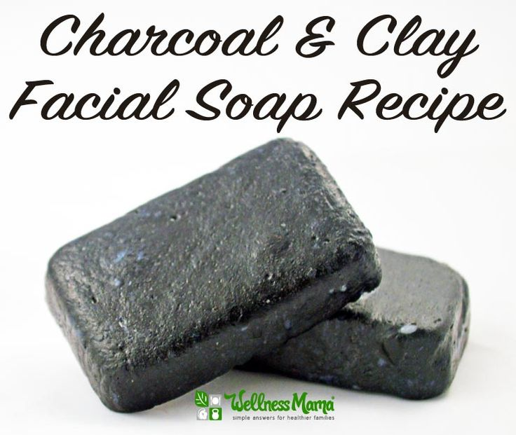 This facial soap recipe uses activated charcoal and bentonite clay with a base of coconut oil, olive oil, castor oil and essential oils.