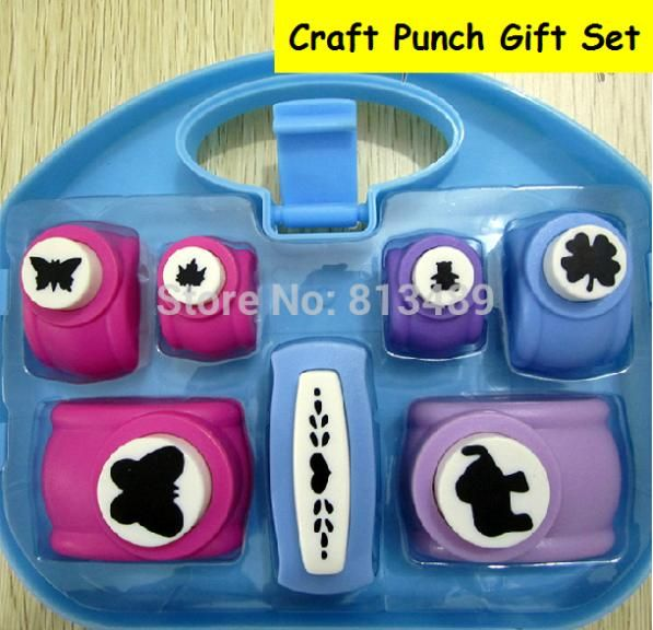 New 7pcs craft punch set paper cutter furador de eva embossing machine cortador paper punches for scrapbooking hole punch 570