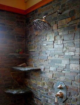 slate showers | slate shower | Rustic house Though i would sure hate to fall in the shower :P