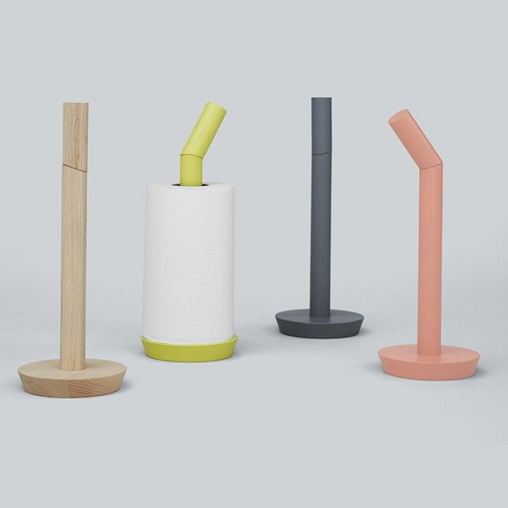 Place your paper towel roll on a straight rod, and lock it in place with the cross rod, which doubles as a handle for carrying Porter. Porter is made of wood.   Size: Ø 13,5 x H 36 cm Material: Ash, untreated or painted Colours: Available in wood, nude and grey