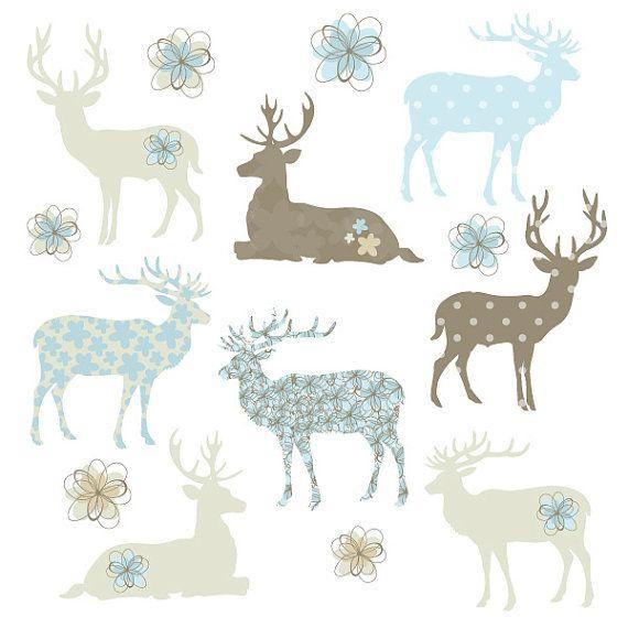 Ciervos Fawn silueta formas en marrón y azul por CollectiveCreation