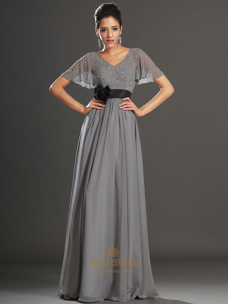 lindadress.com Offers High Quality Grey V-Neck Chiffon Beaded Flutter Sleeves Prom Dress With Black Sash,Priced At Only USD $92.00 (Free Shipping)