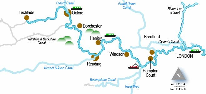River Thames Holiday Cruising Guide and Map with Canal Junction.