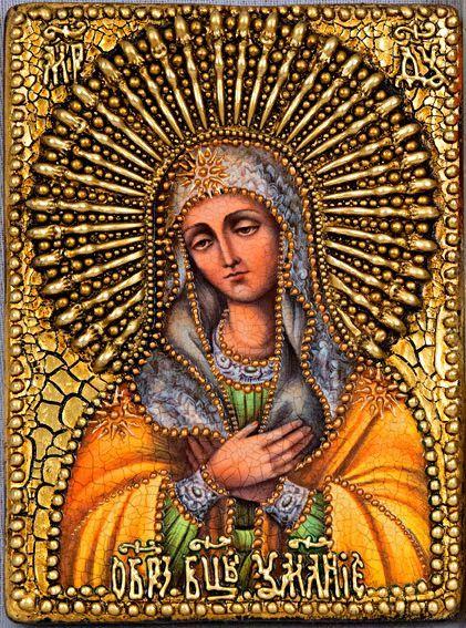 """Икона """"Образ Божией Матери """"Умиление"""" 14 х 19 см, роспись по дереву, литье"""
