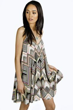 Petite Amy Neon Aztec Swing Dress at boohoo.com