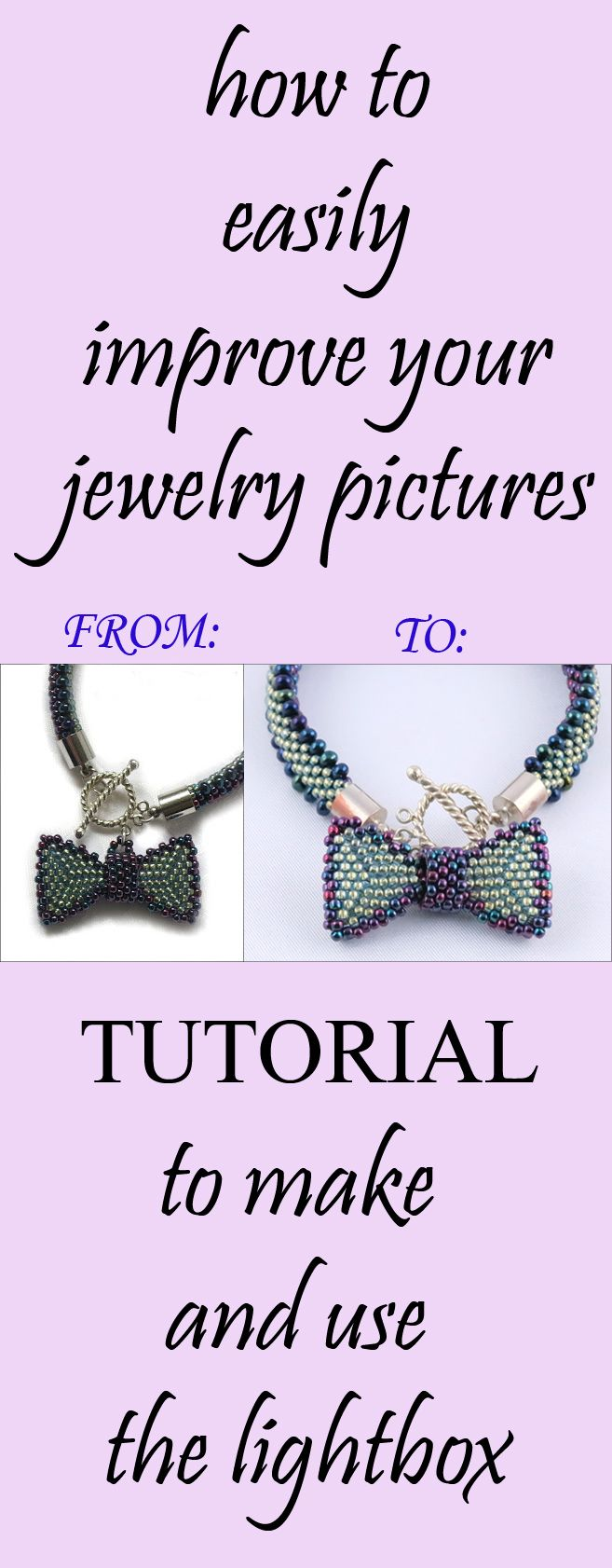 Easy and quick way to improve your jewelry or product photography. DIY lightbox.  #photographytips #tutorial #takebetterpictures #jewelryphotography #productphotography #lightbox #DIY #crafts #photography #phototips #freetutorial