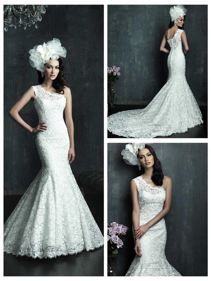Cap Sleeve One-shoulder Lace Appliques Mermaid Wedding Dresses