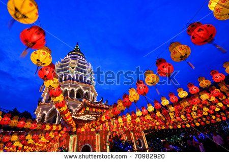 Chinese New Year Decoration at Kek Lok Si Temple, Penang Malaysia - stock photo