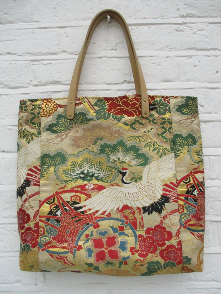 Large Tote - bag made from vintage silk kimono and obi fabric in Cream, red, gold, green and black. by Jasuin on Etsy