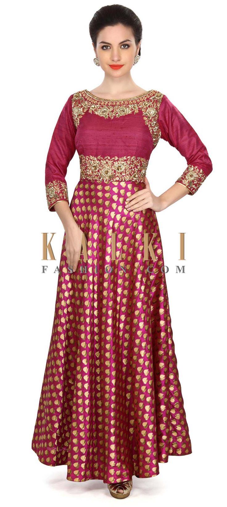 Buy Online from the link below. We ship worldwide (Free Shipping over US$100) Price- $669 Click Anywhere to Tag http://www.kalkifashion.com/navy-blue-gown-embellished-in-kardana-embroidery-only-on-kalki.html