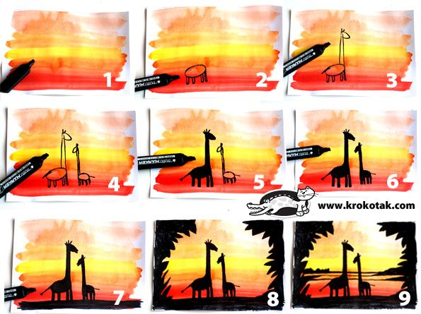 Sunset silhouettes - paint rows of colour on background; then draw you picture with black pen. Lots of inspiration ideas here