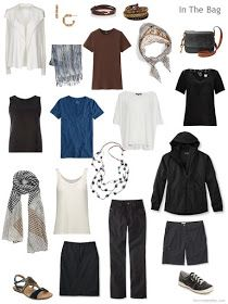 an 11-piece travel capsule wardrobe in black, brown, blue and ivory