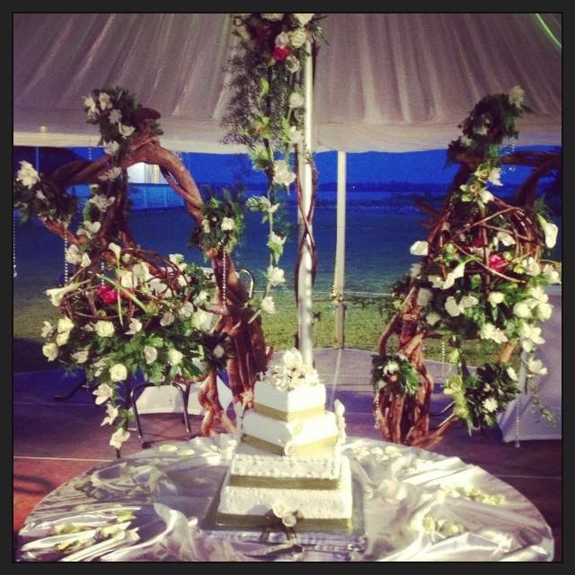 Wedding cake set-up in our gala tent.