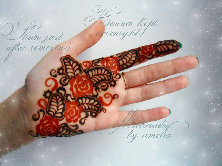 henna on palm | ... henna design in her hand she kept henna overnight and removed some