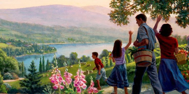 Een gelukkig gezin dat in een mooie, vredige omgeving aan het wandelen is