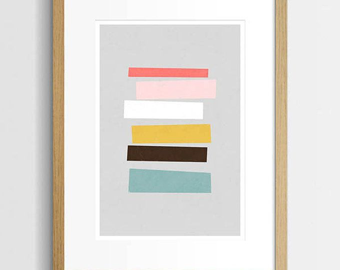 Mid Century afdrukken, kunst aan de muur van de abstracte, geometrische Art afdrukken, Home Decor, moderne kunst, moderne abstracte, kleurrijke kunst, A3 Art Print