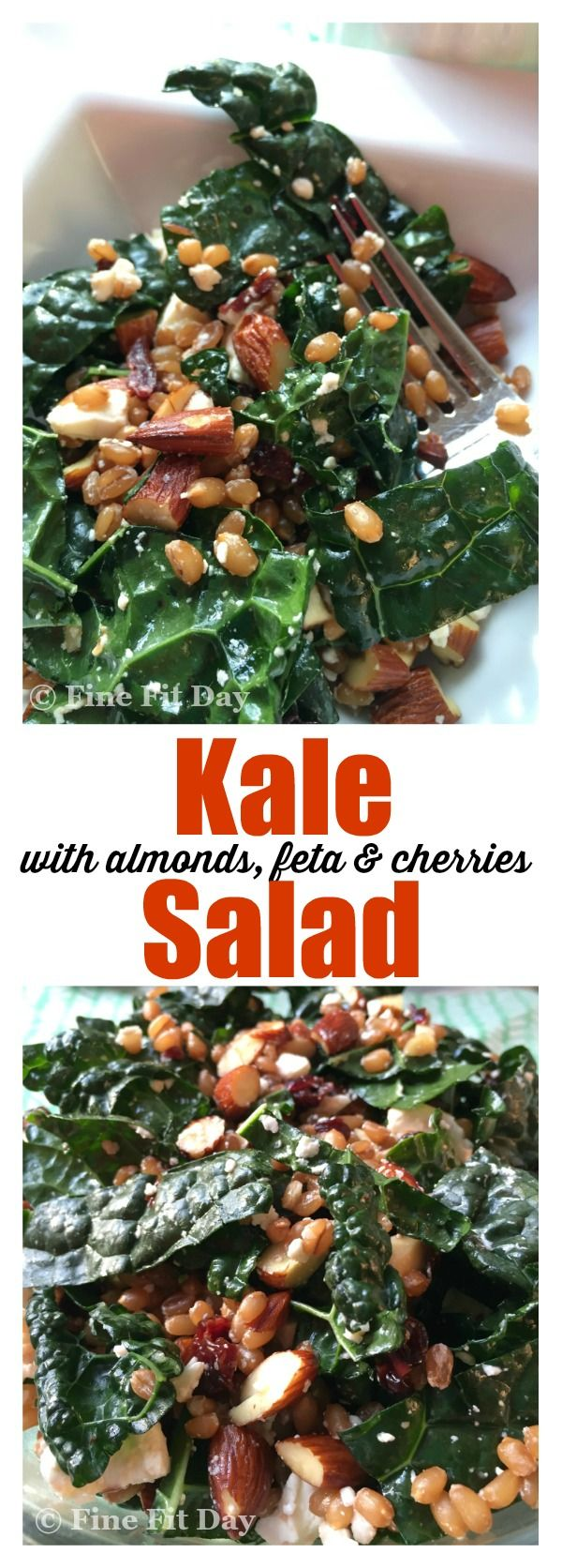 Kale Salad with Almonds, Feta and Cherries - this recipe for kale salad is simple to prepare and tastes delicious. With wheat berries (farro) in the ingredients, it is a filling salad, side dish, or yummy meal. You can also prepare it ahead of time - it gets even better as the flavors combine! | healthy recipe | vegetarian | recipes | dinner idea |