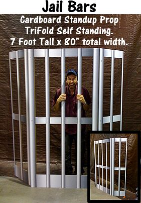 """<div> <h2 style=""""text-align: center""""> Jail Bars Cardboard Cutout Standup Prop</h2> <p> <br /> This self-standing tri-fold prop is great for photo-ops, stage productions, or interactive events!<br /> </p> <div> Manufactured in 5 business days. Expidite service available -- select above.</div> <br /> <div> Call For Custom Siz..."""