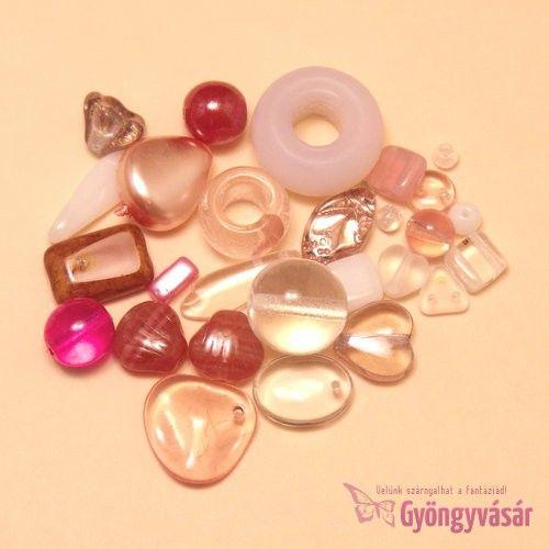 Rózsaszín-fukszia vegyes cseh gyöngy, 15 g • Gyöngyvásár.hu