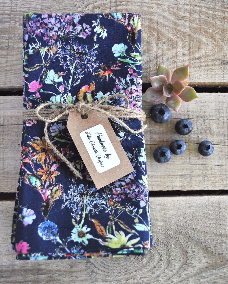 Navy Floral Print Set of 6 Handmade Cotton Linen Napkins with Mitred Corners. Visit my Etsy store for sales.