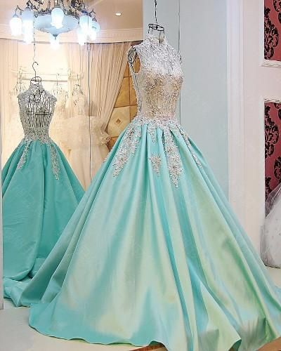 AHP0114 New Arrival Chiffon High Neck Train Prom Dresses with White Lace 2017