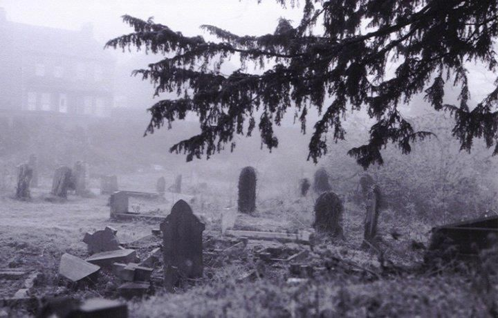 Spooky graveyard near Mildenhall town square in the UK.