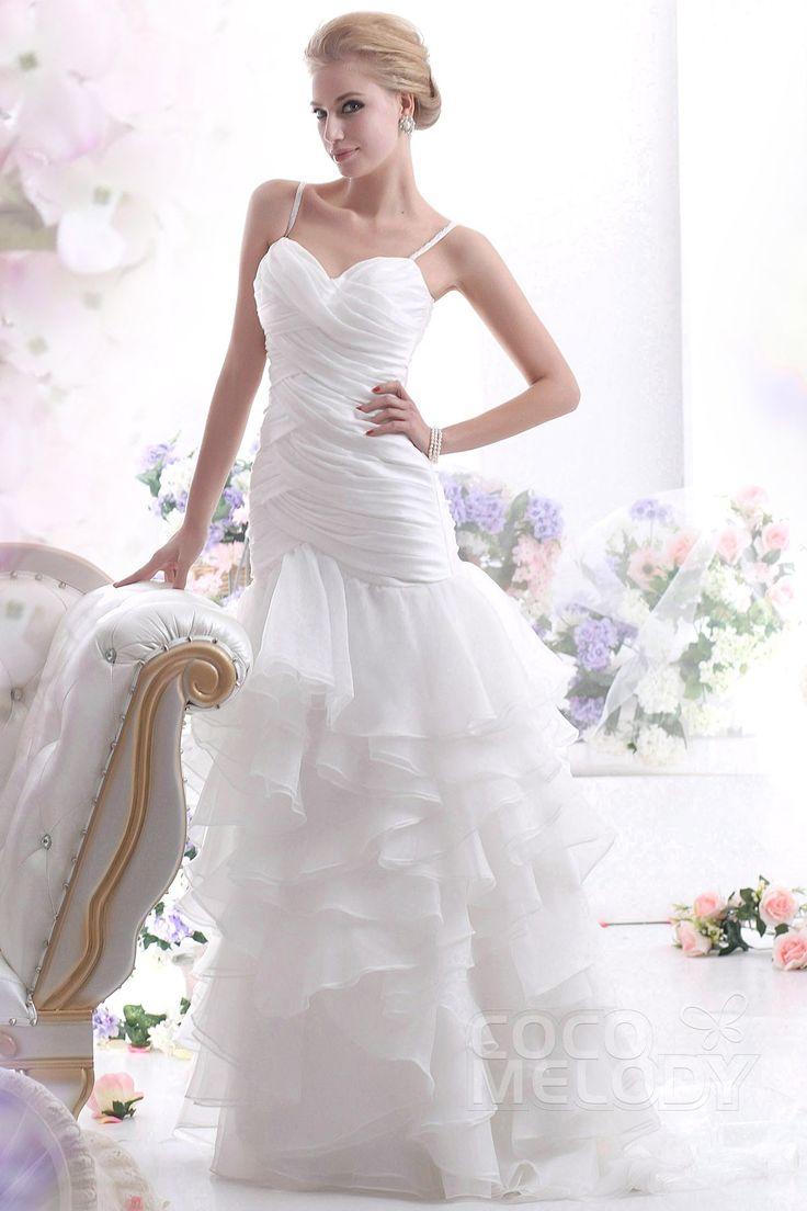 魅力的 スレンダー ストラップ ローウエスト スイープ トレーン オーガンジーウェディングドレス CWLF13003