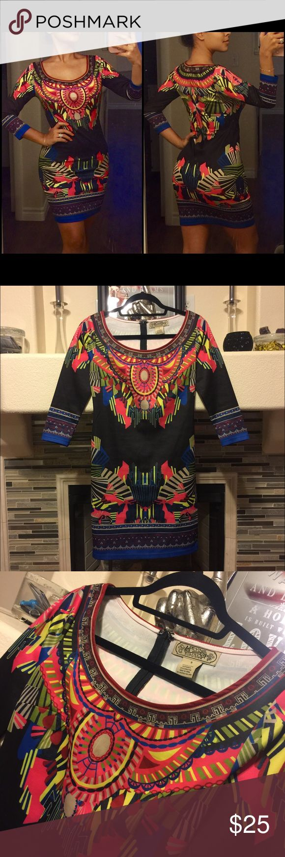 Aztec Print Bodycon Dress I'm in love with this 😍 colorful Aztec print dress.. bodycon fit, thick material. Worn once and in fabulous condition except for the zipper.. it unraveled (not ripped) so it's super easy to fix (i just can't sew, so I'd rather sell as is) look at last picture. Dresses Mini