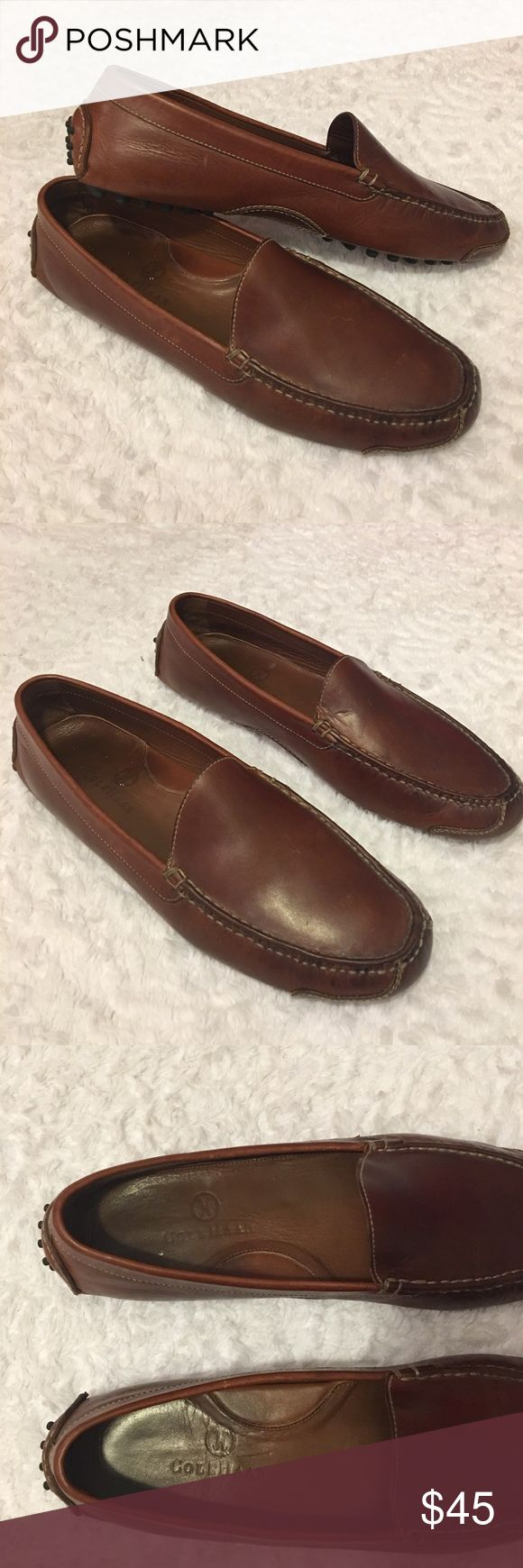 Cole Haan Slip On Loafers Brown Leather Size 10.5 Cole Haan Slip Ons. Brown Leather. Men's Size 10.5. Lightly Worn With Light Wear And Tear On Toe Area. Over All Great Pre Owned Condition. Cole Haan Shoes Loafers & Slip-Ons