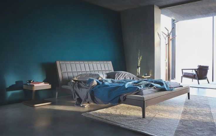 Stunning Bedroom Ideas Home Design With Dark Blue Wall Paint Along Gray…