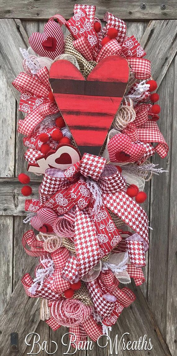 Valentine Swag, Valentine Wreath, Valentine Decor, Valentine Door, Love Wreath, Love Decor, Love, Cupid Wreath, Cupid Decor, Valentine Door Hanging, Heart Wreath, Heart Decor Burlaps, Checks & Rustic Hearts❤️ You can celebrate the season and let your door have some FUN with a Ba Bam