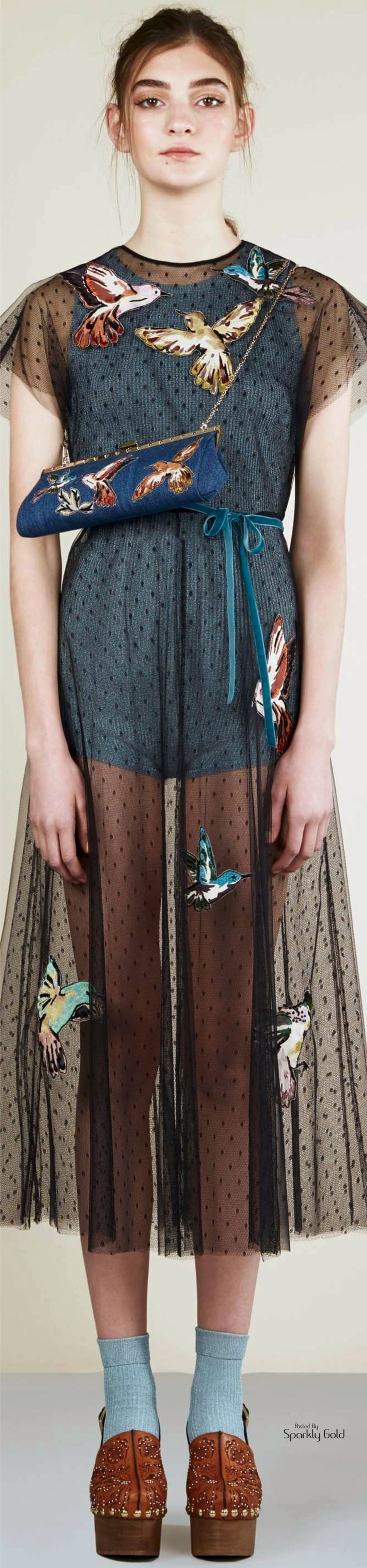 """Red Valentino Resort 2017"" girl don't look so mad, your dress is super fly! birdman loves you"