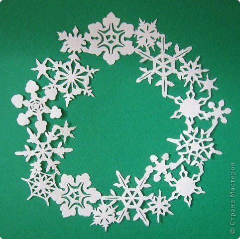 Картина панно рисунок Новый год Вырезание Венок Бумага фото 1