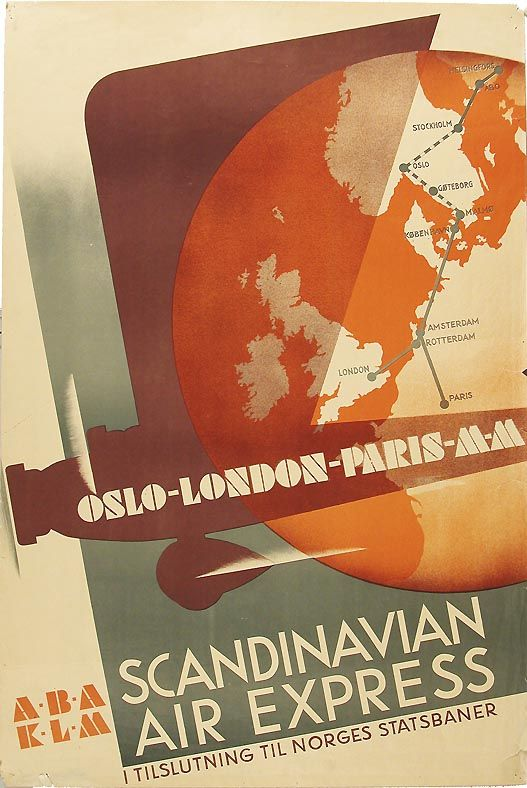 AB Aerotransport (ABA), a Swedish airline - poster design by Anders Beckman between 1933-36