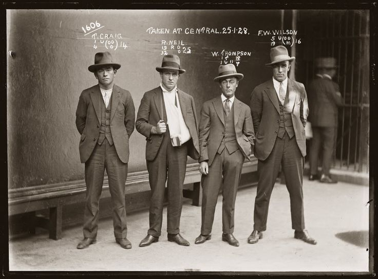 Thomas craig raymond neil aka gaffney the gunman william thompson and fw wilson january 1928 photograph by the sydney justice police museum