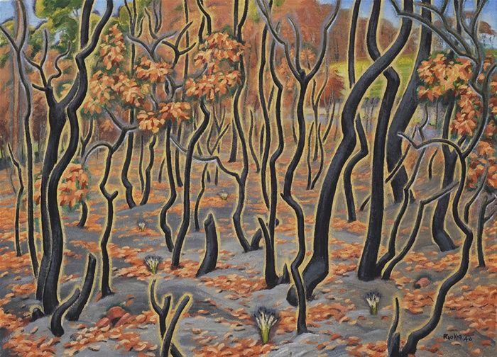After the Bushfire by Weaver Hawkins (Raokin) - 1946