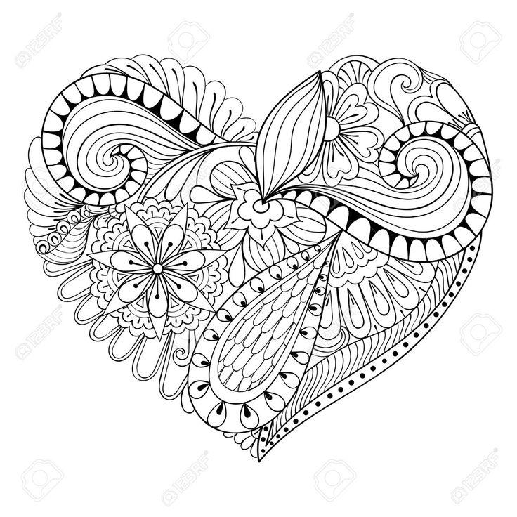 resultado de imagen para corazon de zentangle  floral