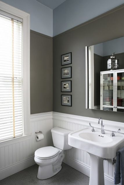 love the three colors in this bathroom. white bead-board, wide grey stripe and blue at top of wall and onto ceiling!