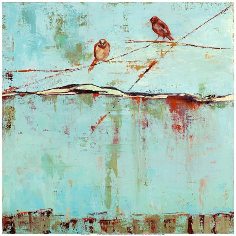 Birds on Horizon in Blue by Janice Sugg. Art print from Art.com.