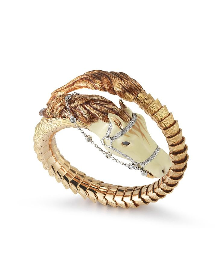 Roberto Coin 18k Gold Diamond Pavé Horse Bangle Bracelet T2Ok6