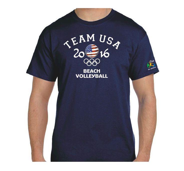 Beach+Volleyball+Team+USA+Rio+2016+Summer+Olympic+T-Shirt,+100%+Cotton