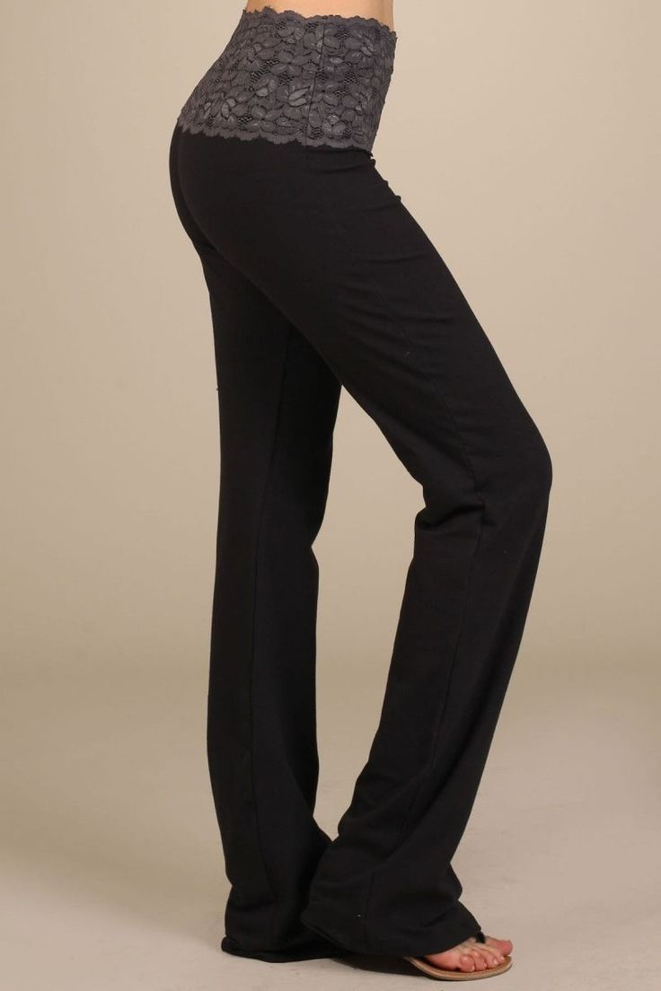 Yoga Pants With Lace Band