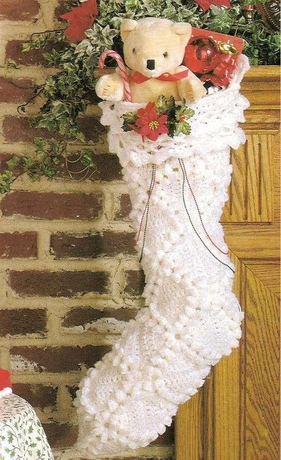 Calza della Befana all'uncinetto - Calza bianca decorata